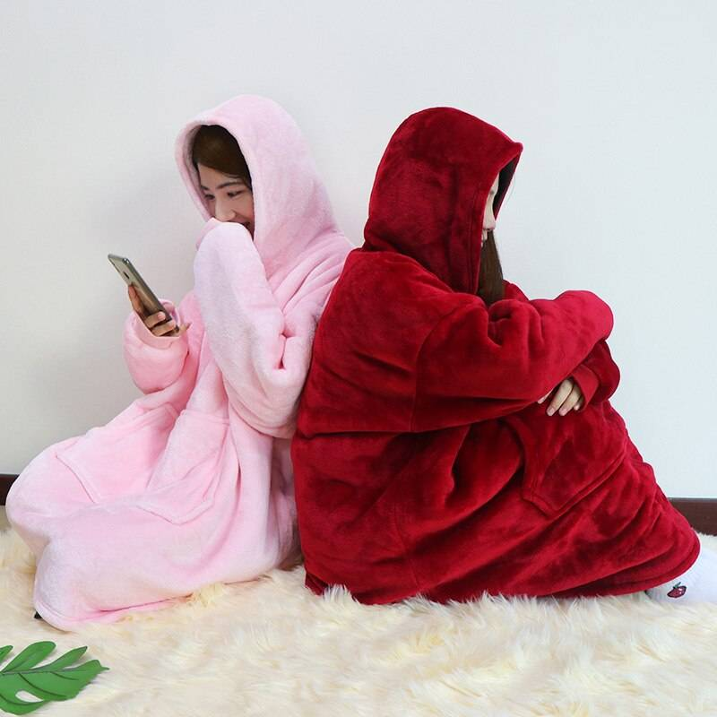 Women Blanket Sweatshirt Robe Winter Hoodies Outdoor Hooded Coats Warm Comfy Bathrobe Christmas Fleece Blanket Sudadera Mujer Color : baby pink|black|blue|pink|red|grey